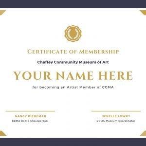 CCMA Artist Member Certificate