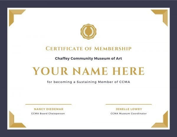 CCMA Sustaining Member Certificate
